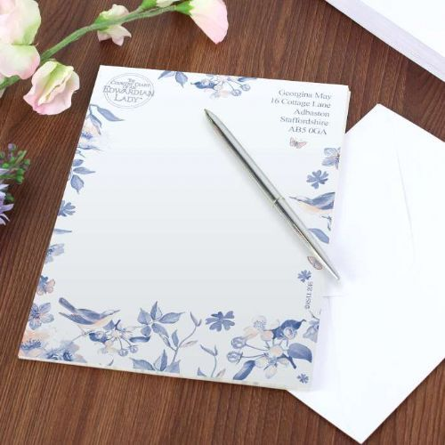 Personalised Country Diary Blue Blossom Stationery Set